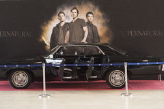 ESCROQUERIE COMIQUE DE MOSCOU : 1 peut 2017, écran de Moscou, Russie a employé Baby appelé par Chevrolet Impala 1969 utilisé dans photographie stock libre de droits