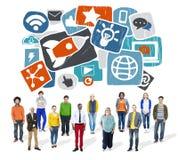 Escroquerie en ligne de media de media de réseau de technologie sociale sociale d'Internet Images libres de droits