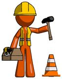 Escroquerie orange de construction de Contractor Man Under de travailleur de la construction illustration stock