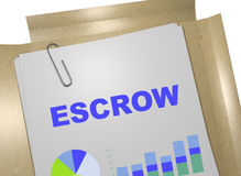 Escrow - business concept. 3D illustration of ESCROW title on business document Stock Image
