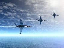 Escuadrón de caza. Aviones militares Imagen de archivo libre de regalías
