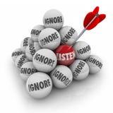 Escucha la pirámide de la bola de la palabra 3d contra ignora la atención de la paga Foto de archivo libre de regalías