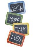 Escucha más, la charla menos Imagen de archivo libre de regalías