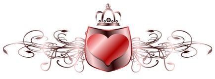 Escudo adornado con el corazón ilustración del vector