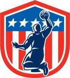 Escudo americano de la parte posterior de la clavada del jugador de básquet retro ilustración del vector