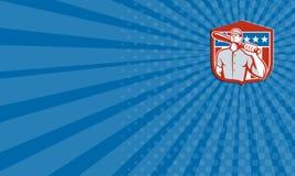 Escudo americano del palo del talud del béisbol de la tarjeta de visita retro ilustración del vector