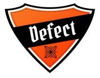 Escudo anaranjado y negro con el texto del DEFECTO stock de ilustración