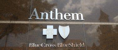 Escudo azul cruzado azul de la salud del himno Fotografía de archivo libre de regalías