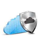 Escudo binario de la nube y del metal Imagen de archivo