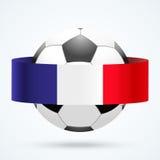 Escudo brillante en la bola del fútbol dentro con las cintas francesas Foto de archivo
