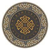 Escudo céltico, adornado con un modelo europeo antiguo y runas escandinavas ilustración del vector