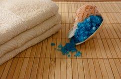 Escudo com sal e toalhas do mar Imagem de Stock