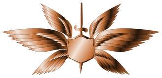 Escudo con alas plata con la espada stock de ilustración