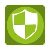 Escudo con el icono aislado símbolo de la seguridad Imagenes de archivo