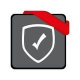 Escudo con el icono aislado símbolo de la seguridad Fotografía de archivo libre de regalías