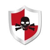Escudo con el icono aislado símbolo de la seguridad del cráneo Foto de archivo libre de regalías