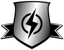 Escudo con el relámpago - símbolo del poder stock de ilustración