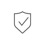 Escudo con la línea icono, illu de la marca de verificación del logotipo del esquema del guardia Imagen de archivo libre de regalías
