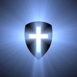 Escudo con la llamarada ligera cruzada azul