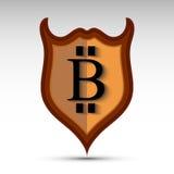 Escudo con símbolo de la moneda del pedazo Fotos de archivo libres de regalías