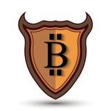 Escudo con símbolo de la moneda del pedazo Foto de archivo libre de regalías
