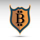 Escudo con símbolo de la moneda del pedazo Imágenes de archivo libres de regalías