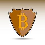Escudo con símbolo del bitcoin Fotos de archivo libres de regalías
