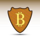 Escudo con símbolo del bitcoin Fotografía de archivo libre de regalías