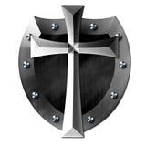 Escudo cruzado del metal de DIOS Imagenes de archivo