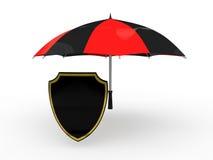 escudo 3d debajo del paraguas Imagen de archivo libre de regalías