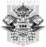 Escudo de armas americano gráfico con el engranaje y la corona ilustración del vector