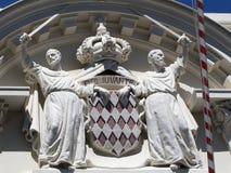 Escudo de armas de Mónaco Imágenes de archivo libres de regalías