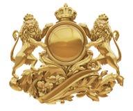 Escudo de armas de oro viejo con el aislante de los leones Imágenes de archivo libres de regalías