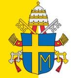Escudo de armas de papa Juan Paul en segundo lugar y bandera de vatican Imágenes de archivo libres de regalías