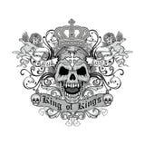 escudo de armas del cráneo del grunge Foto de archivo