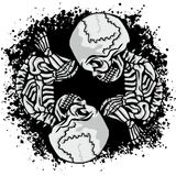escudo de armas del cráneo del grunge Imagenes de archivo