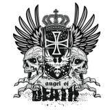 escudo de armas del cráneo del grunge Foto de archivo libre de regalías