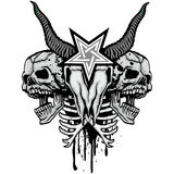 escudo de armas del cráneo del grunge Fotografía de archivo libre de regalías