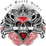 escudo de armas del cráneo del grunge Imágenes de archivo libres de regalías