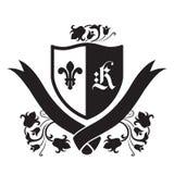 Escudo de armas - escudo con la flor de lis, la letra de K y las flores Fotografía de archivo libre de regalías