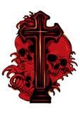 Escudo de armas gótico con el cráneo y el rosario, vintage del grunge stock de ilustración