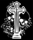 Escudo de armas gótico con el cráneo y el rosario, vintage del grunge imagen de archivo libre de regalías