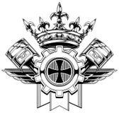 Escudo de armas gráfico blanco y negro con los pistones stock de ilustración