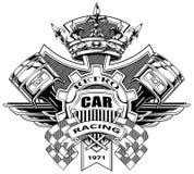 Escudo de armas gráfico con los pistones y las banderas el competir con ilustración del vector