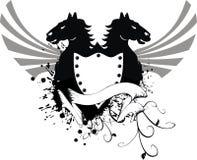 Escudo de armas heráldico 4 del caballo Fotografía de archivo