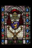 Escudo de armas de Joseph Mihalovic cardinal, vitral en la catedral de Zagreb foto de archivo libre de regalías