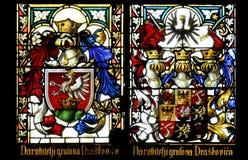 Escudo de armas de las cuentas Draskovic, vitral en la catedral de Zagreb imagen de archivo libre de regalías