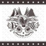 Escudo de armas militar americano del fondo de la guerra civil con las banderas y las armas del águila Foto de archivo