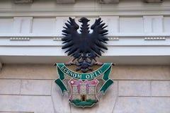 Escudo de armas negro de Eagle y de Zagreb, Croacia imagen de archivo libre de regalías