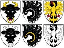Escudo de armas - oro y negro Fotografía de archivo